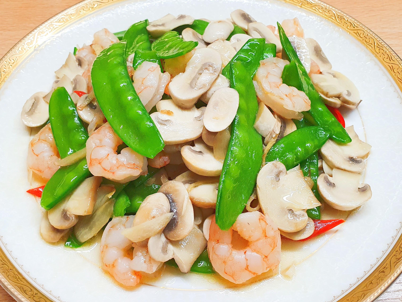 洋菇荷蘭豆炒蝦仁