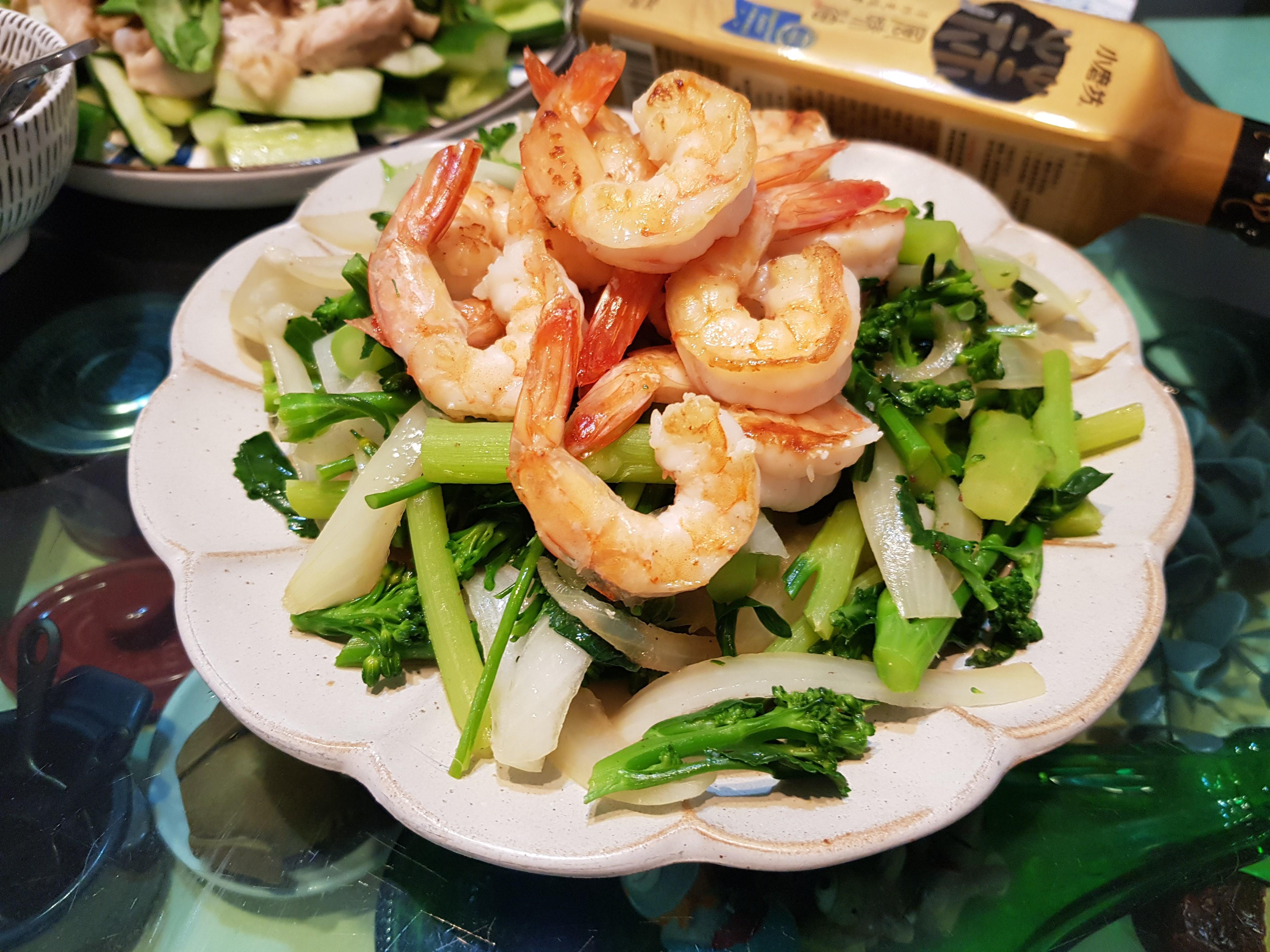 青花筍炒鮮蝦