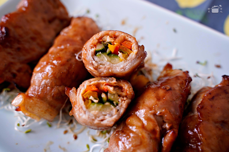 氣炸鍋食譜 泡菜起司蔬菜豬肉捲