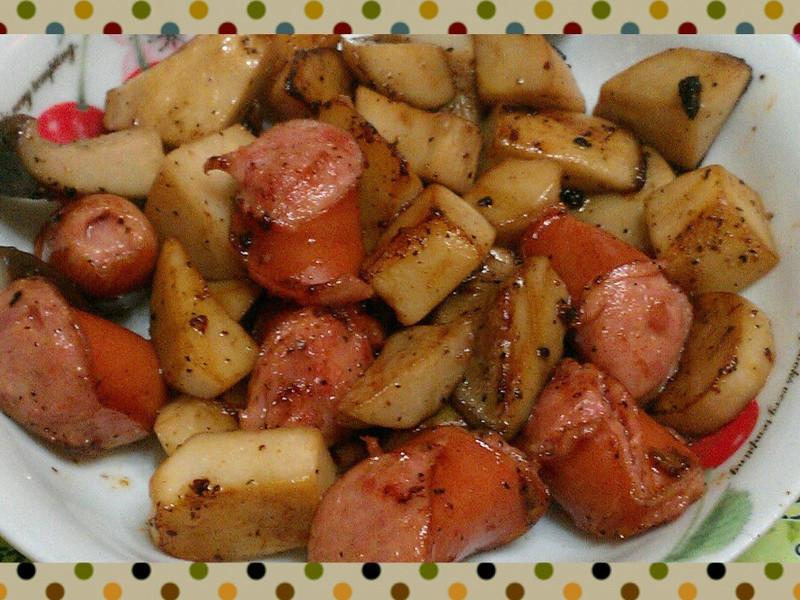 巴薩米克油醋香炒德式香腸杏鮑菇
