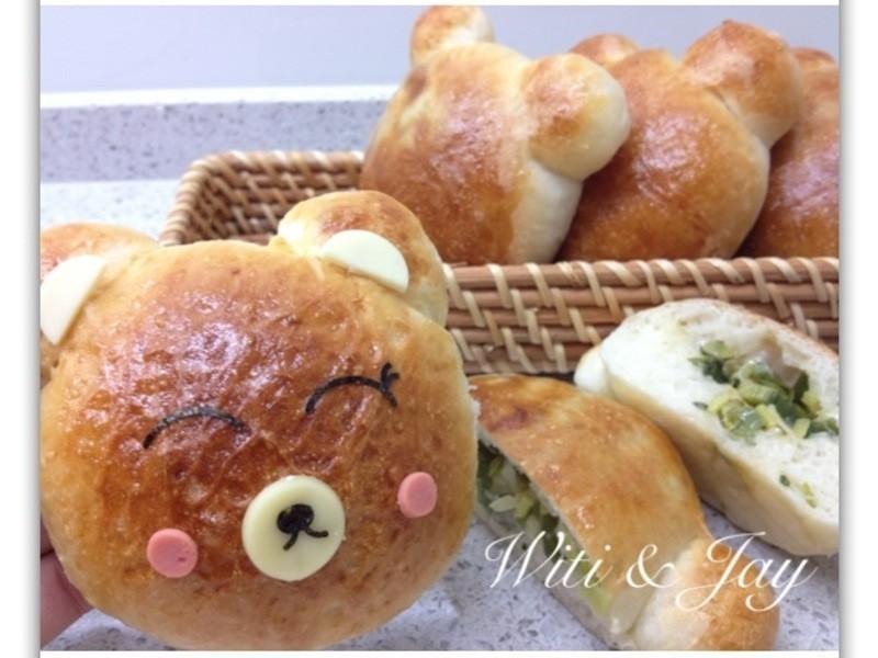 [Witi✿Kitchen](麵包機-麵包)起司蔥熊麵包