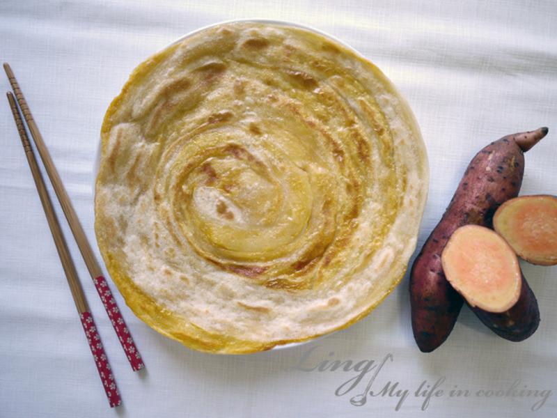 中式♪ 健康高纖維的地瓜抓餅