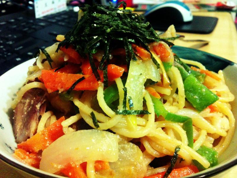 日式明太子炒麵