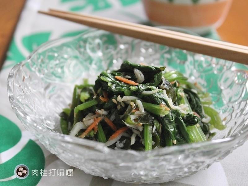 【肉桂打噴嚏】梅醬拌銀魚芝麻波菜