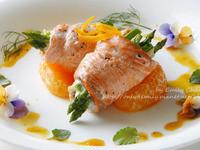 蜜柑鮭魚蘆筍捲