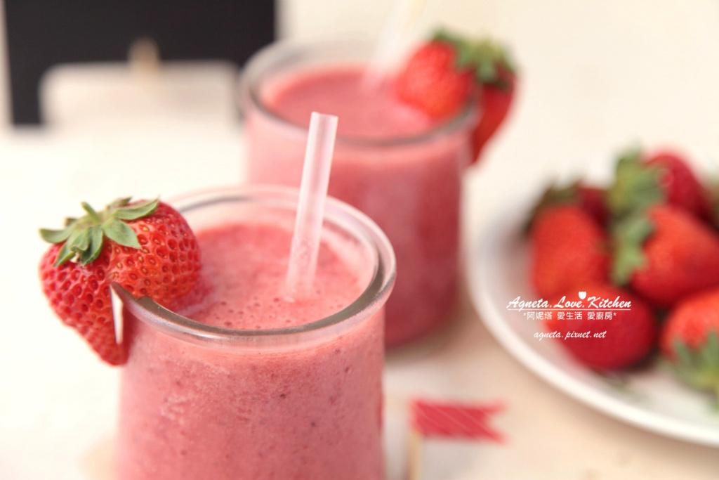[阿妮塔♥sweet] 粉紅!草莓櫻桃鮮果思慕昔(smoothie)