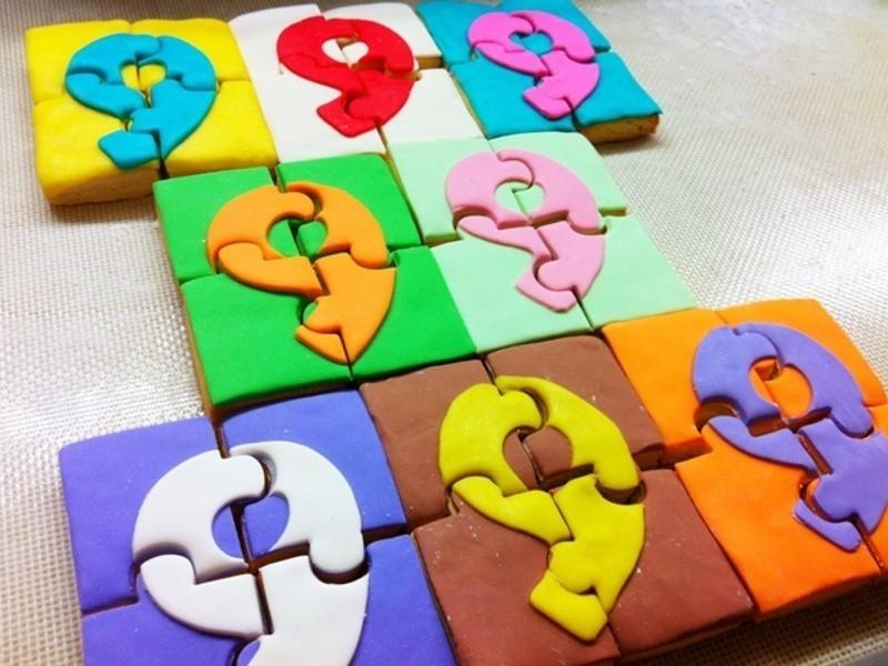 彩色數字拼圖創意翻糖餅乾