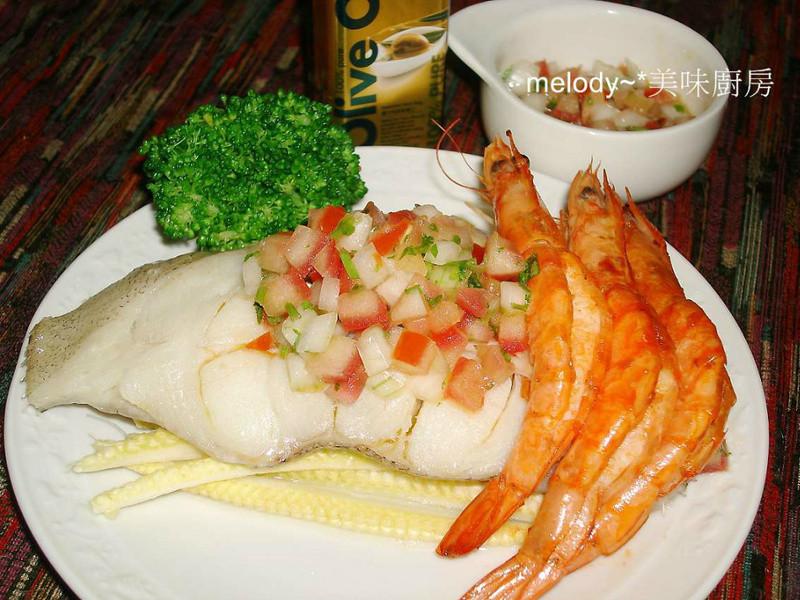 番茄莎莎佐鱈魚蒜蝦