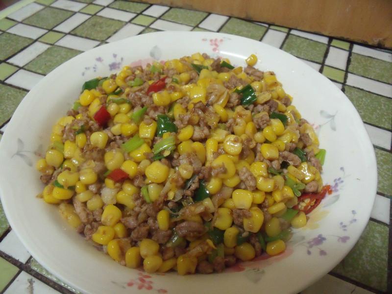 炒肉末玉米粒