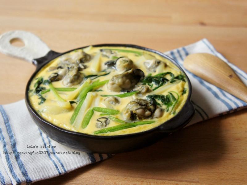 牡蠣洋芋菠菜烘蛋