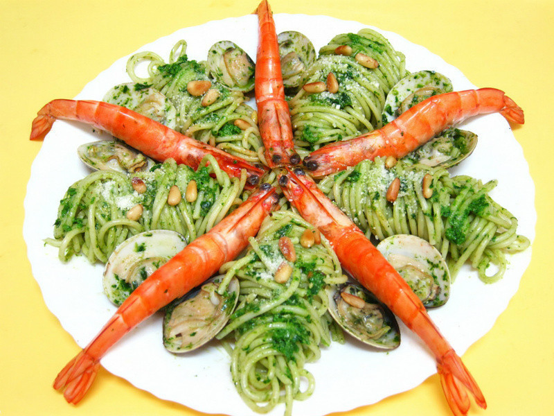『得意的一天橄欖油』青醬海鮮意大利麵