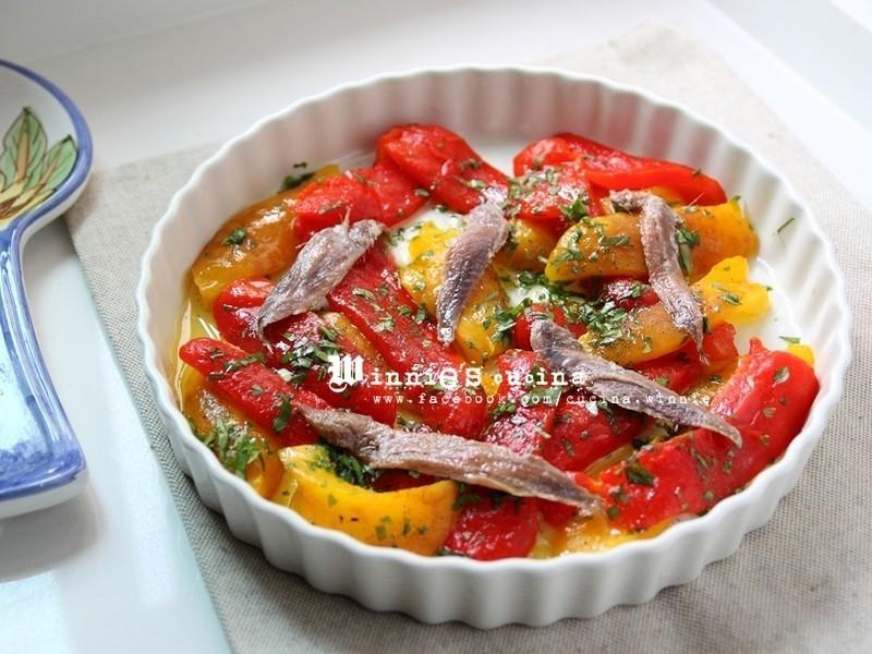 油漬烤甜椒鯷魚開胃菜