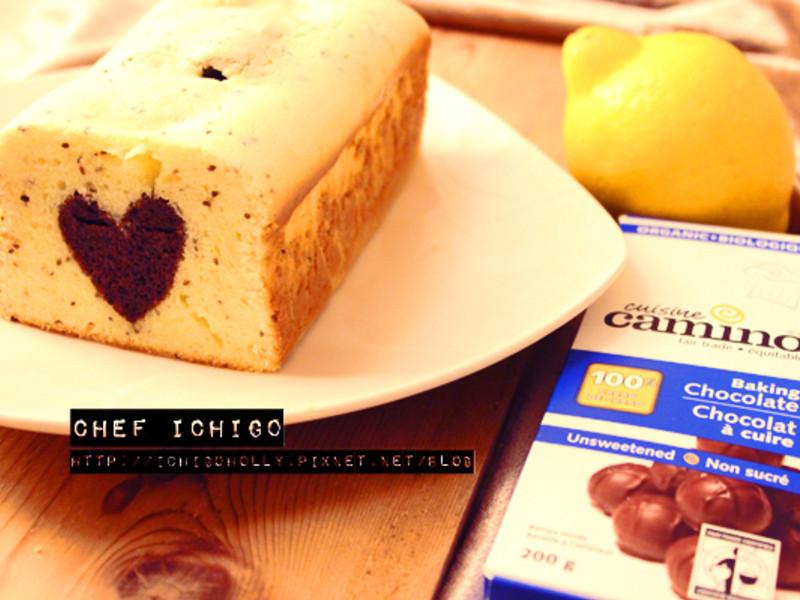 雙色愛心煉乳磅蛋糕- 奶油檸檬+ 香蕉巧克力