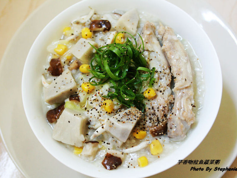 芋香吻仔魚蔬菜粥