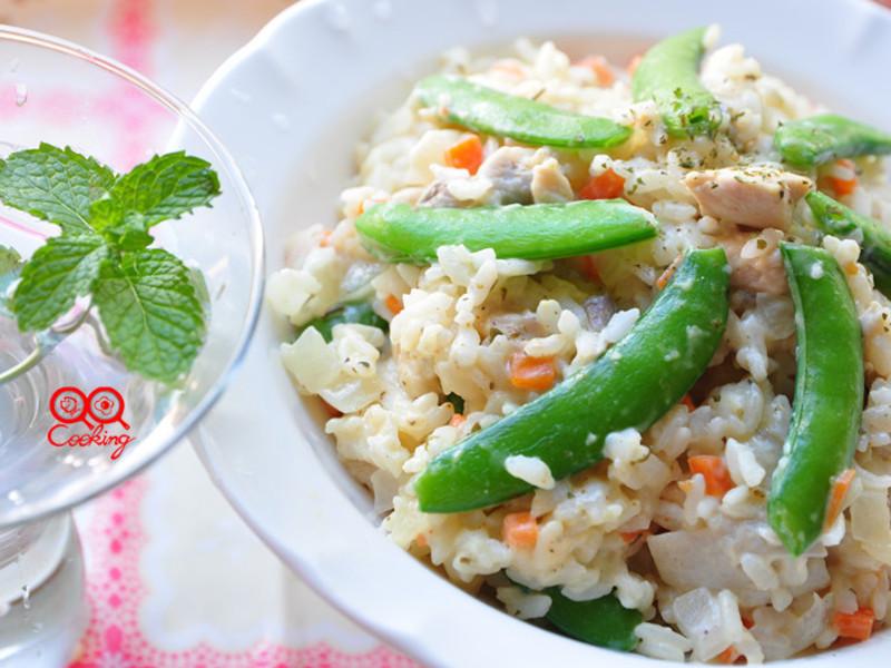 嫩雞丁豆漿燉飯
