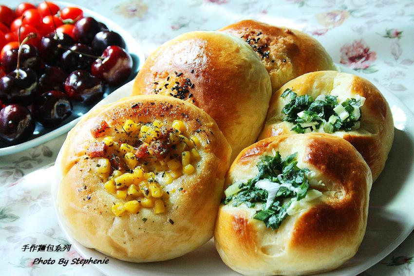 甜式麵包-蔥花麵包&義式火腿玉米麵包&椰子葡萄乾麵包