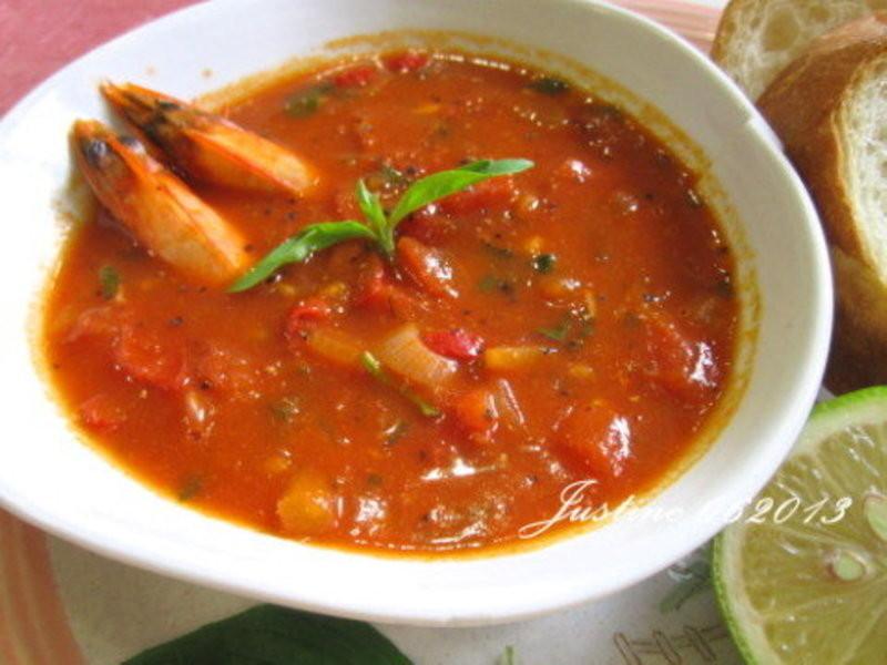 番茄洋蔥甲殼湯