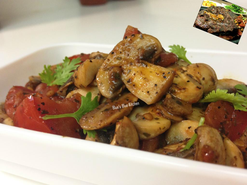 佐餐的簡易開胃配菜-奶油香蒜蘑菇茄丁