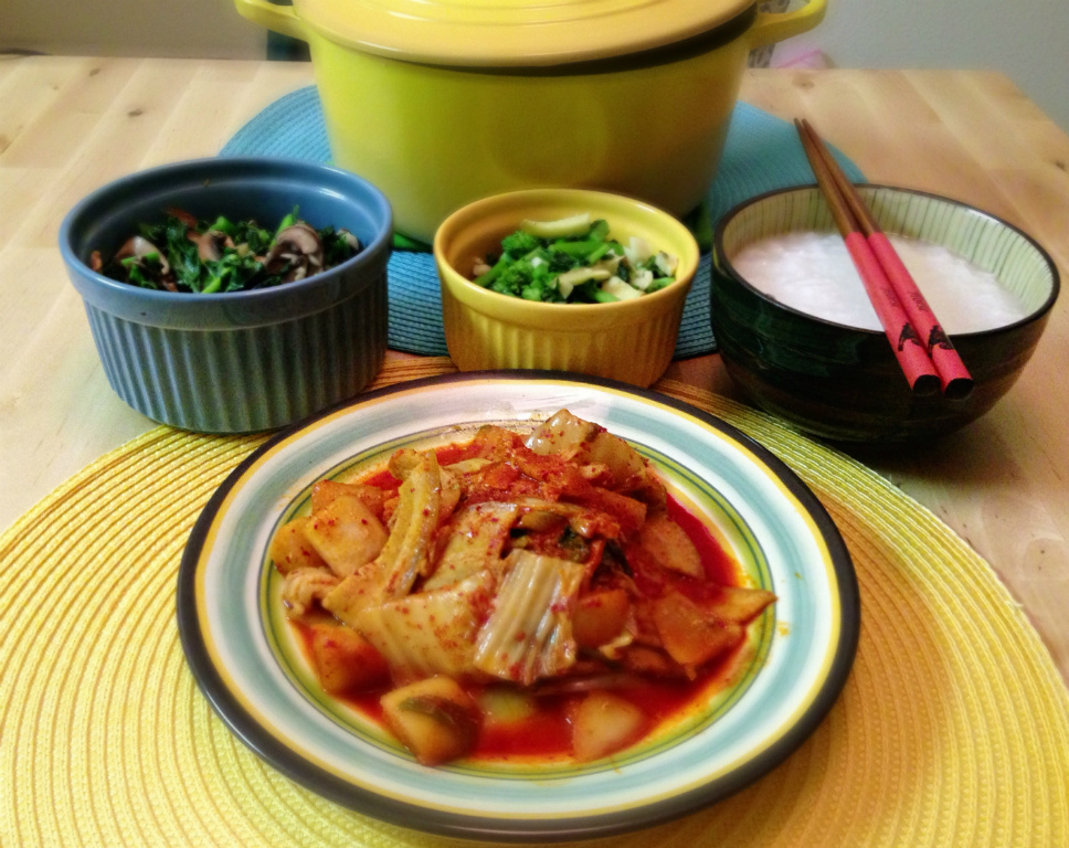[清粥小菜] 泡菜豬肉+炒時蔬