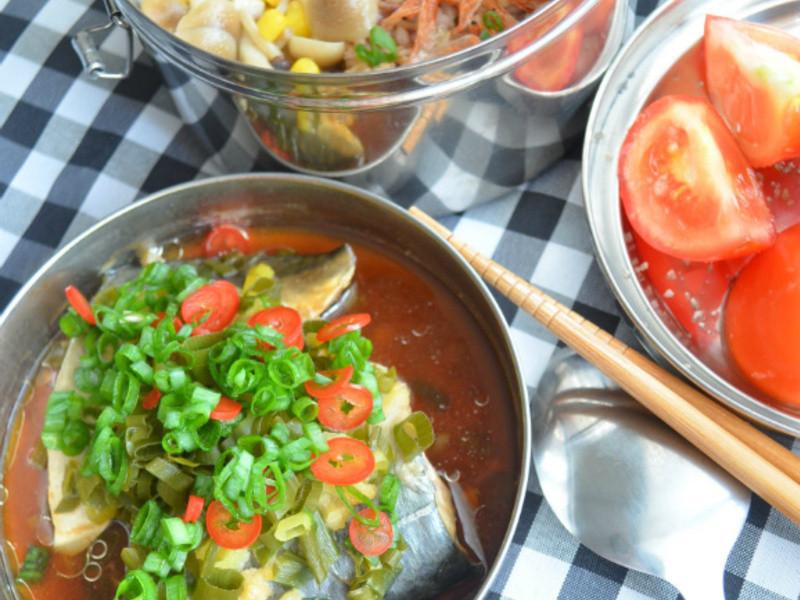 珠蔥蒸鯖魚