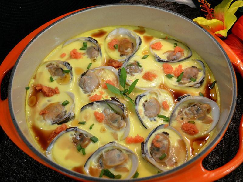 蛤蠣魚籽蒸水蛋