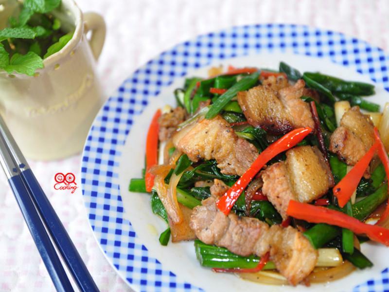 鹹豬肉炒韭菜