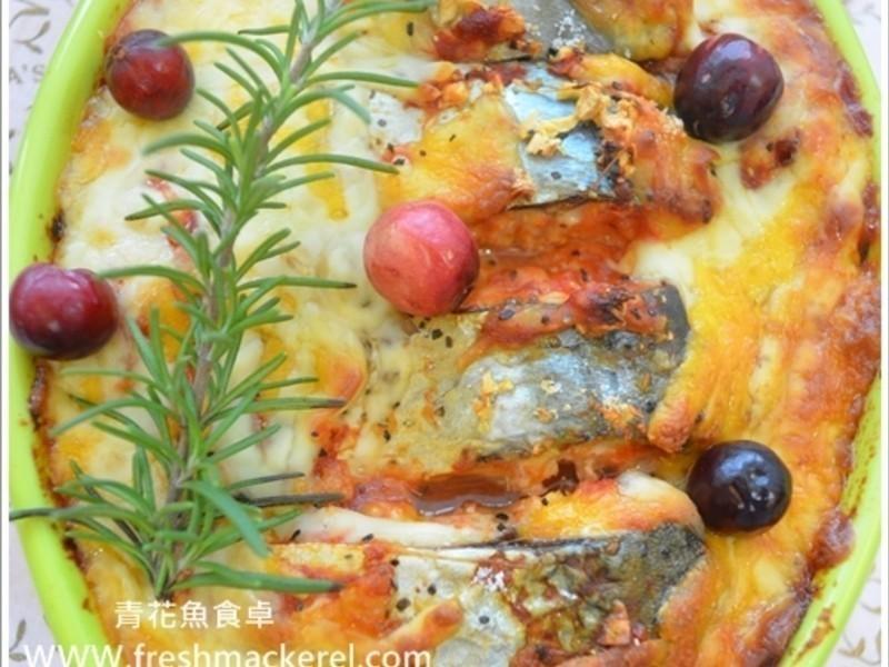無油 焗烤番茄起司鯖魚