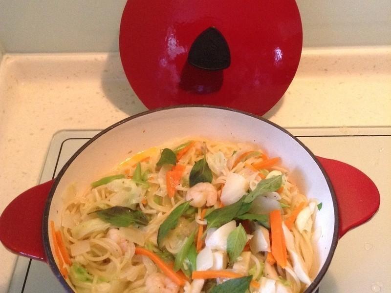 快速蝦仁蔬菜義大利麵