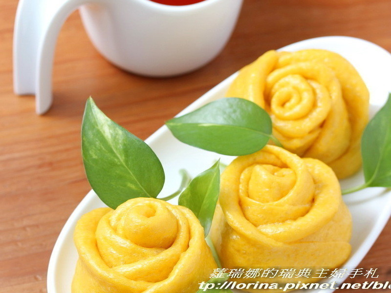 秋天的金黃玫瑰~南瓜玫瑰饅頭