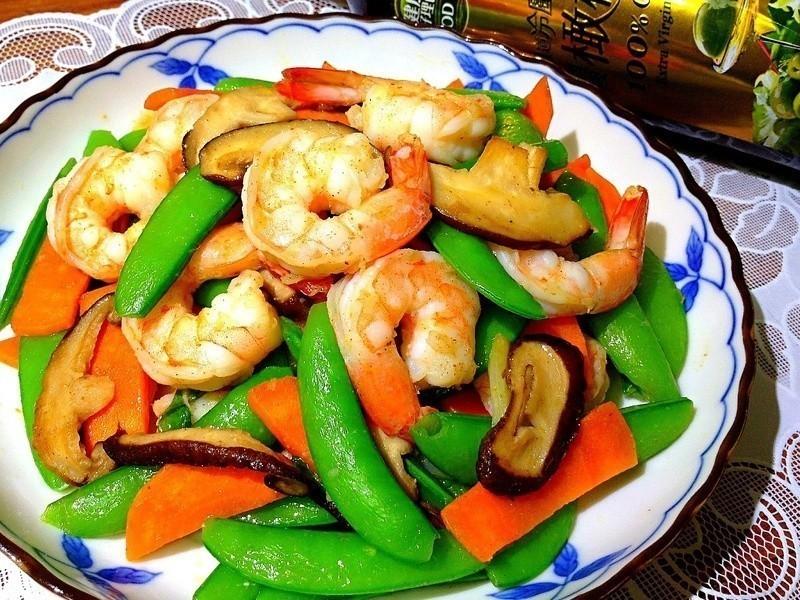 蝦仁炒甜豆---泰山橄欖油