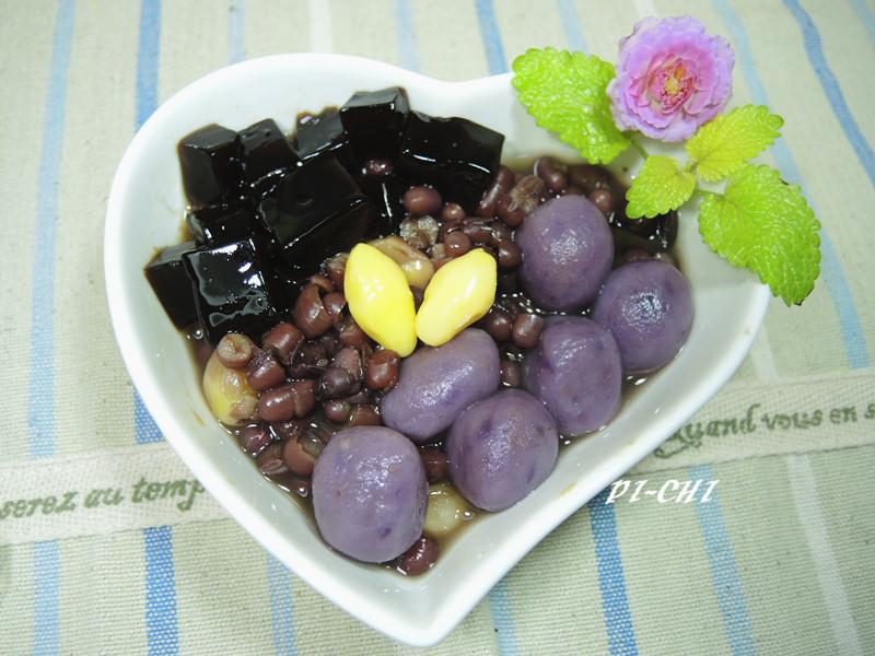 紅豆白果紫薯湯圓{免浸泡紅豆}