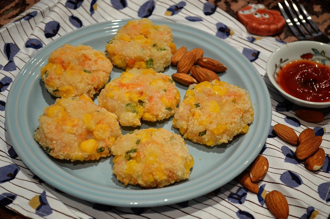 杏仁玉米蝦餅