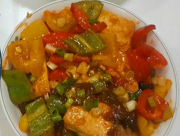 茄汁彩椒豆腐