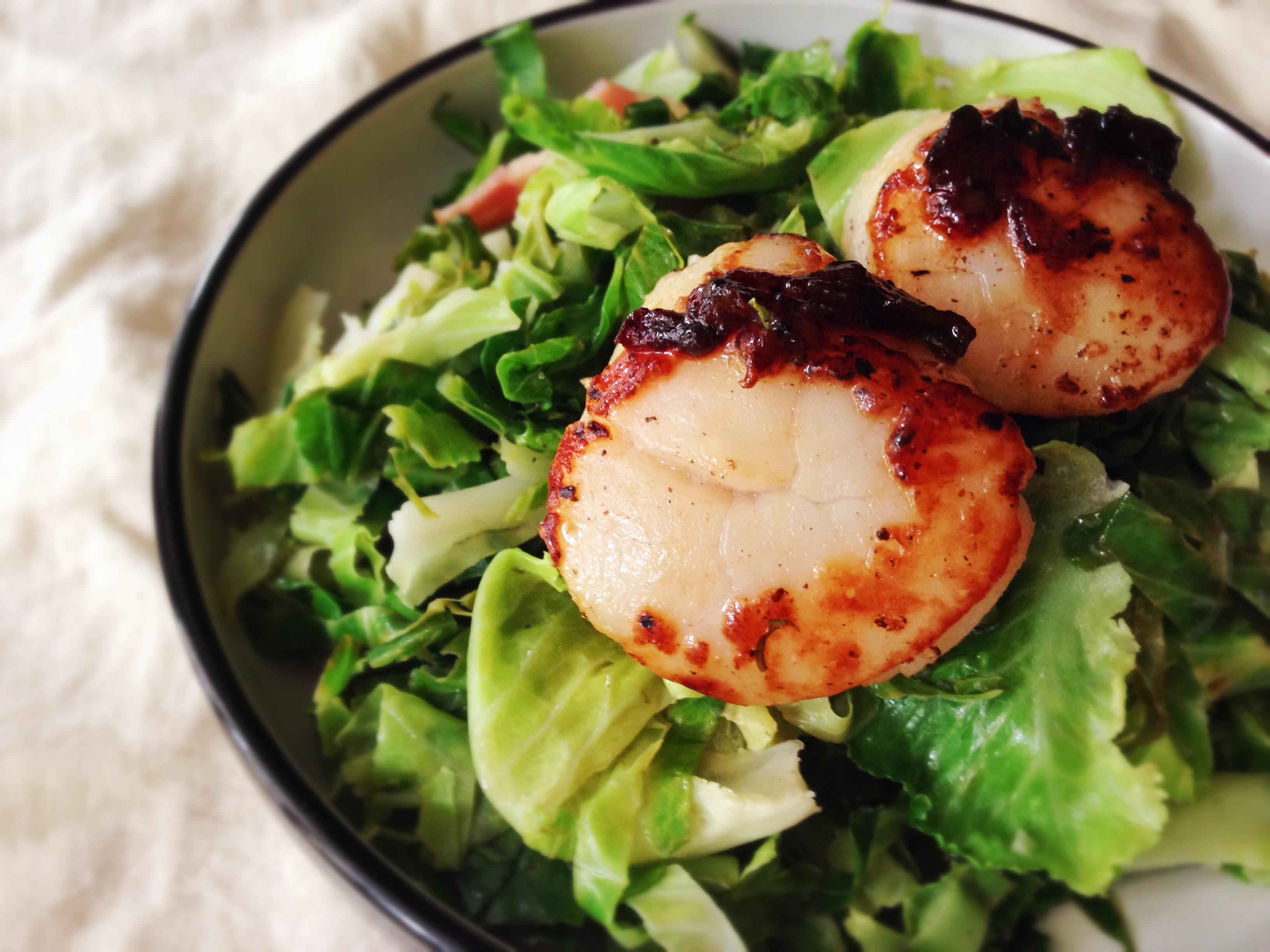 培根干貝沙拉 Scallop and Bacon Baby Cabbage Salad
