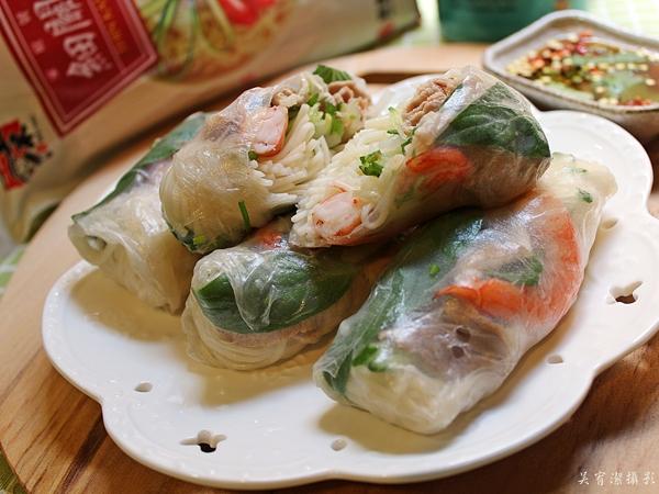越南春捲。五木麵條