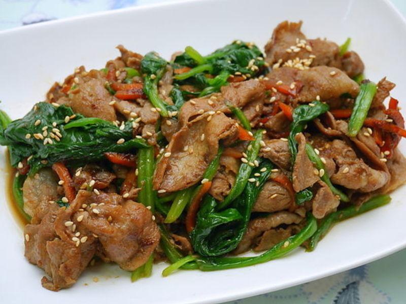 薑燒豬肉炒菠菜