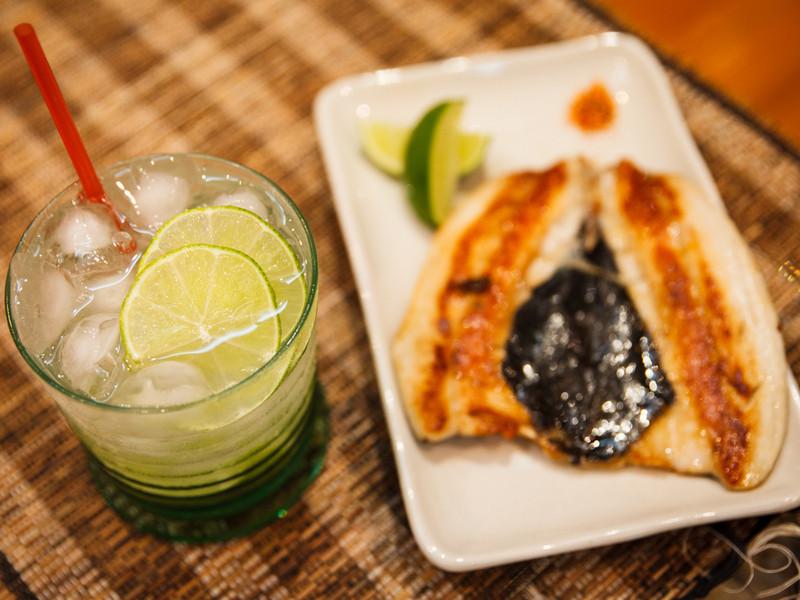 伏特加調酒 + 乾煎虱目魚