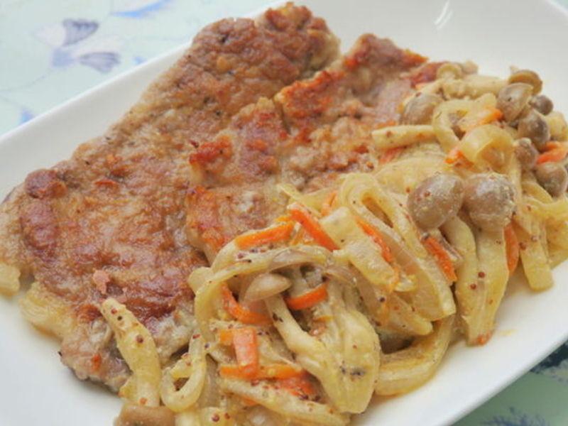 香煎豬排佐菇菇芥籽優格醬