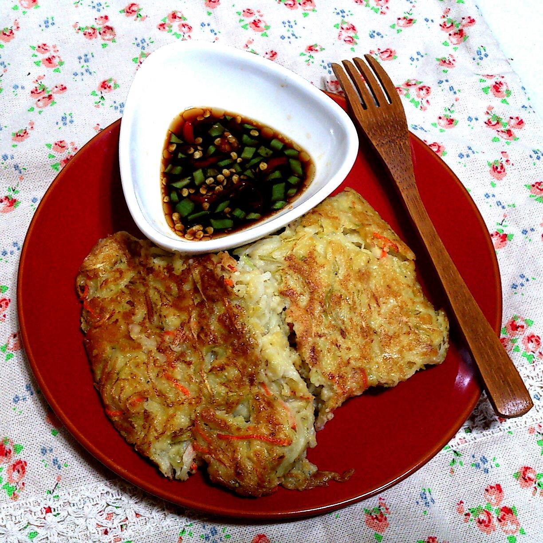 【桔香醬油】胡瓜吻仔魚厚煎餅