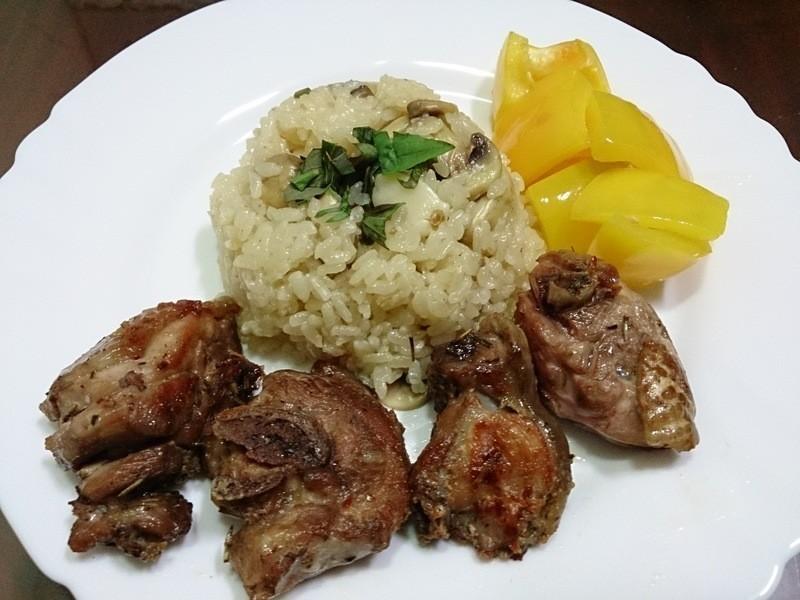 白酒磨菇燉飯-佐義式香煎雞肉-套餐