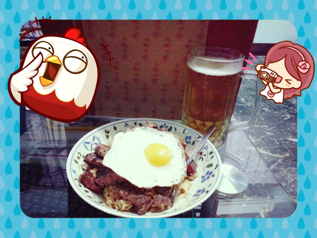 牛排餐蛋麵