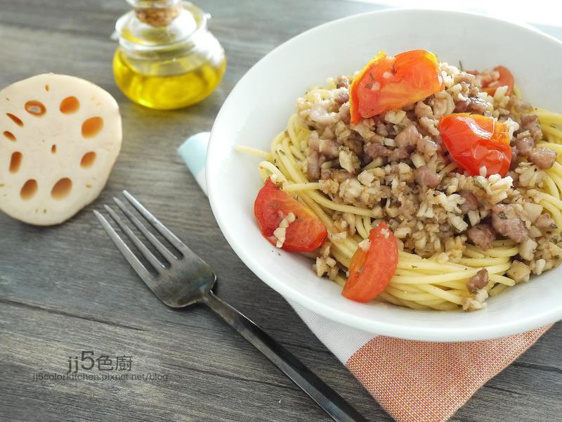 蓮藕蕃茄肉醬義大利麵
