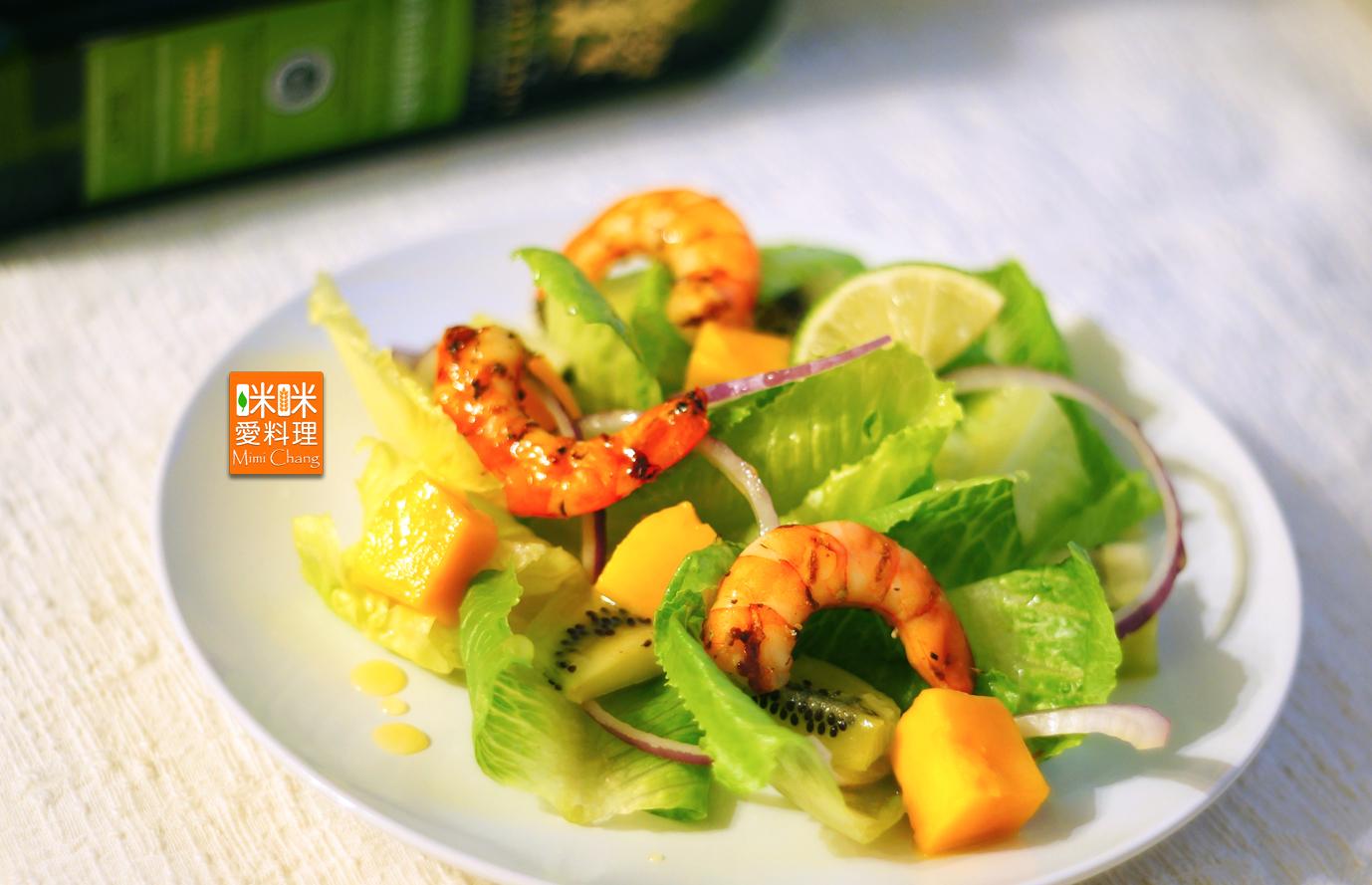 Mimi♥烤蝦蘿蔓水果沙拉