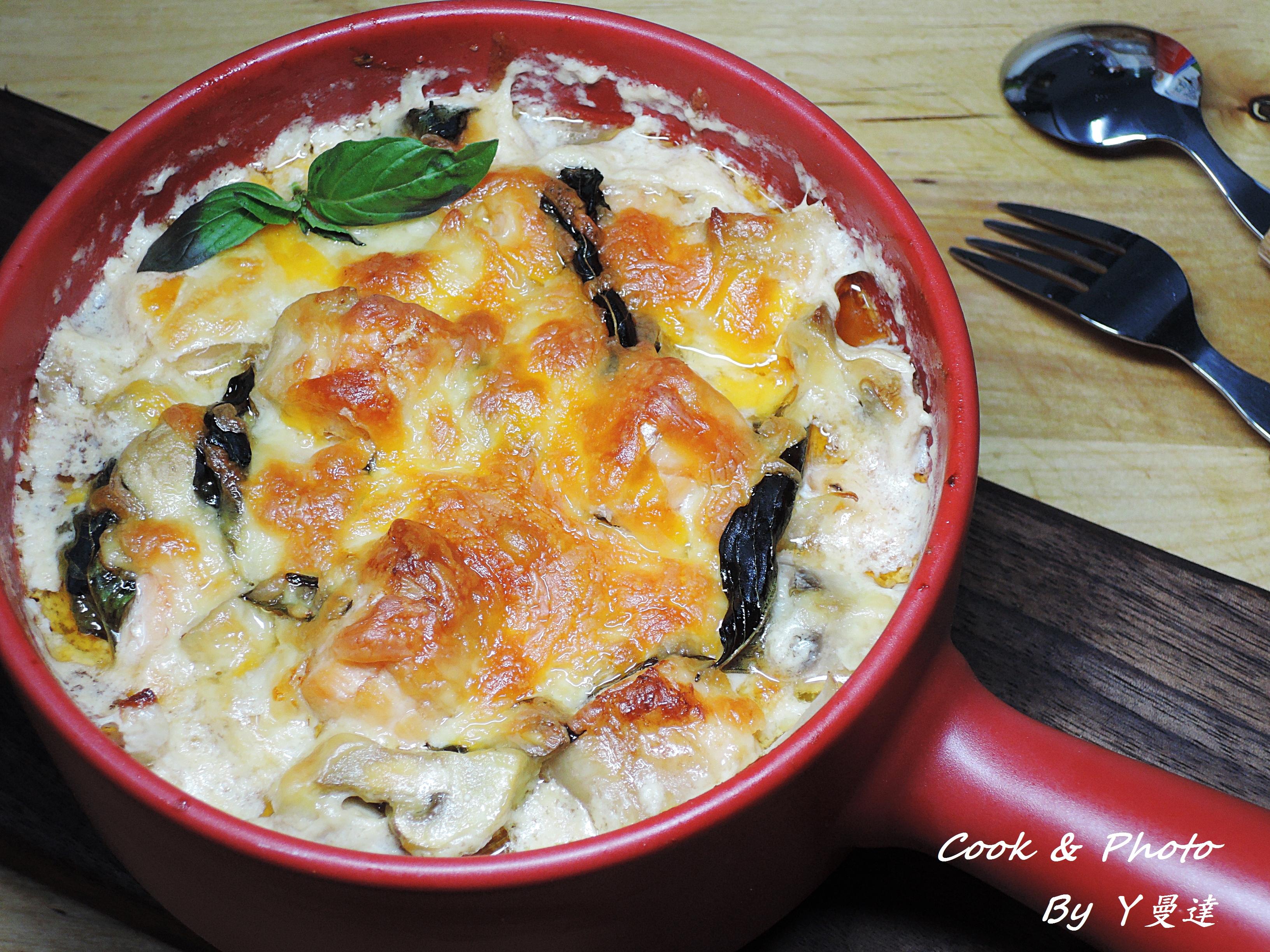 焗烤蘑菇鮭魚
