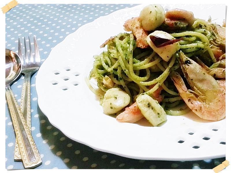 海鮮青醬義大利麵(自製低脂青醬)