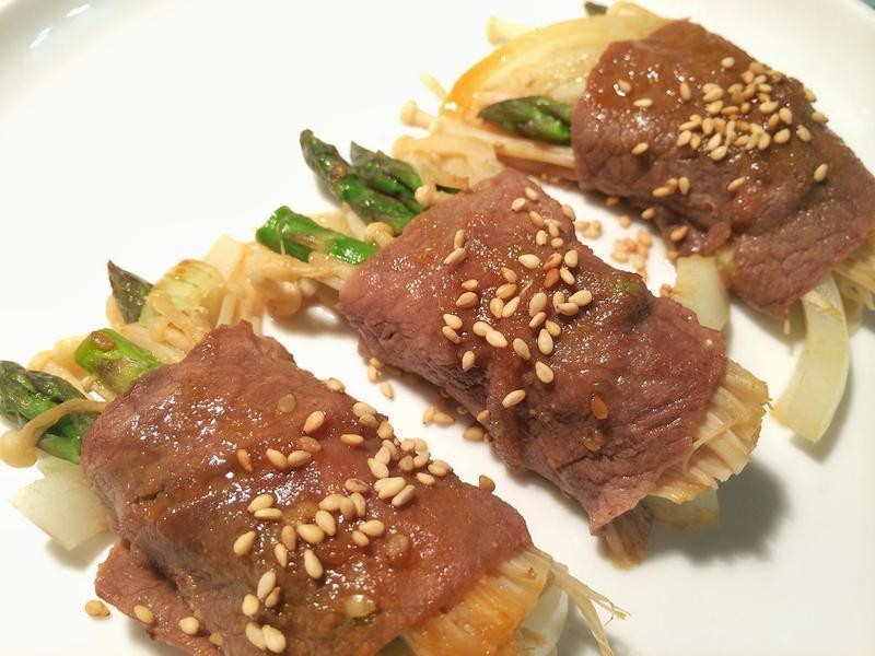 居酒屋風味! 日式洋蔥蘆筍燒烤肉捲
