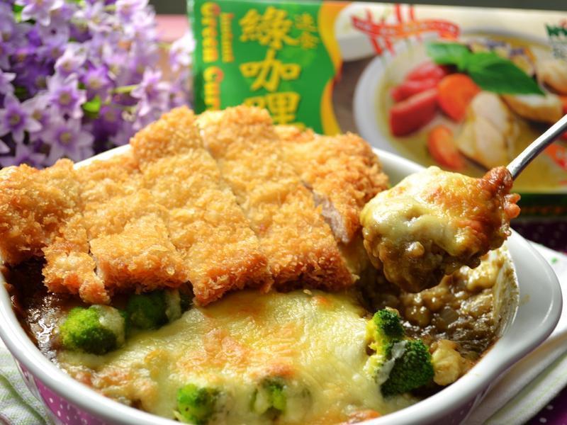 綠咖哩香酥豬排焗飯【穀盛綠咖哩】