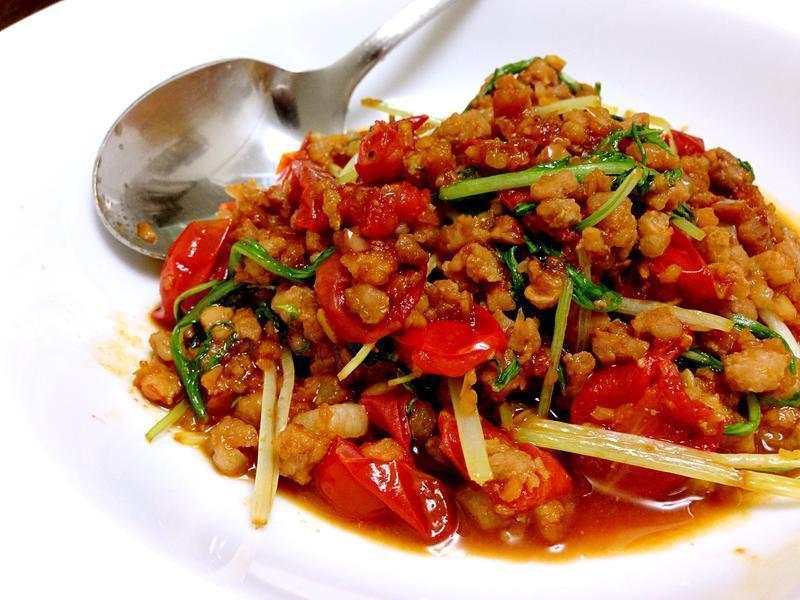 水菜炒豬肉