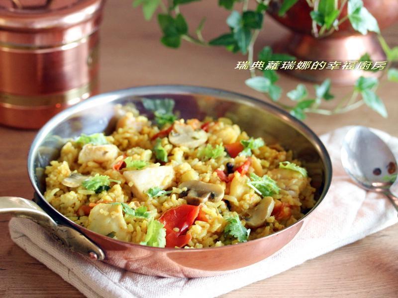 一整顆番茄飯加料變化版~印度咖哩魚片燉飯