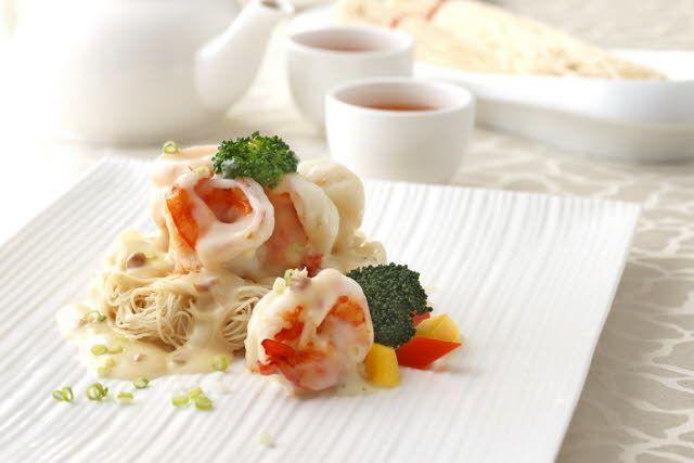 卡邦尼醬燜蝦球麵線